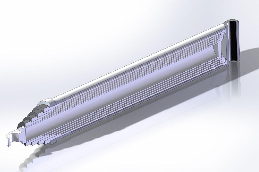 разрез сложенного гидравлического цилиндра