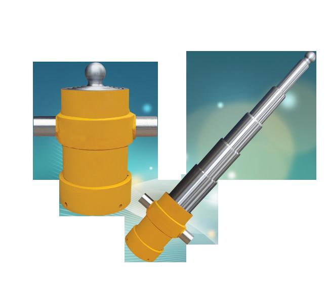 желтый телескопический гидроцилиндр