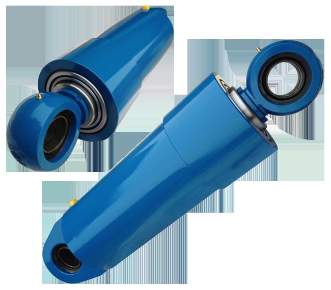 Синий телескопический гидроцилиндр