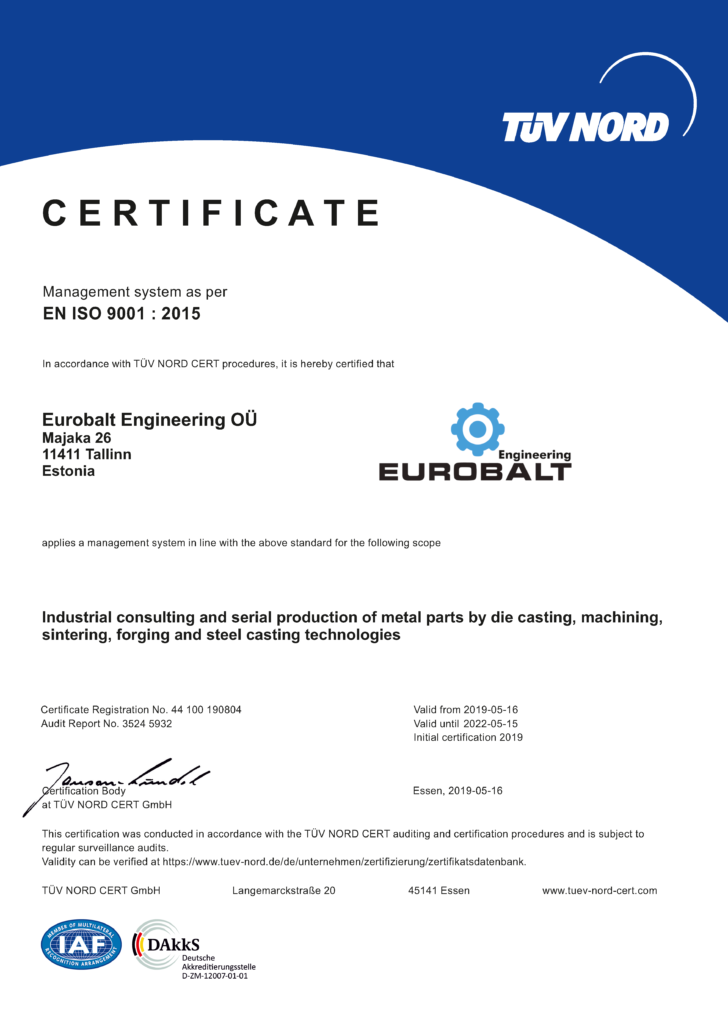 Eurobalt ISO Certificate